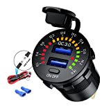 iMESTOU Quick Charge 3.0 Car Charger, Waterproof 36W Dual USB QC3.0 Fast Charging Socket Power Outlet with Voltmeter & Switch & 10A Fuse Built-in for 12V/24V Vehicles (Color: Dual QC. USB, Tamaño: Dual QC. USB)