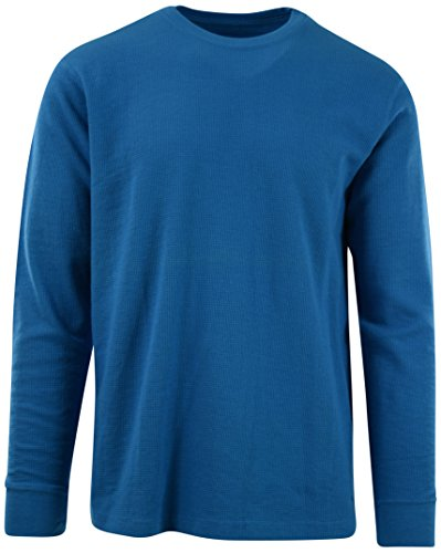 ChoiceApparel Mens Long Sleeve Thermal Waffle Pattern Crew Neck Shirts (XL, 1802-Vivid Blue) - Thermal Neck Mens Crew