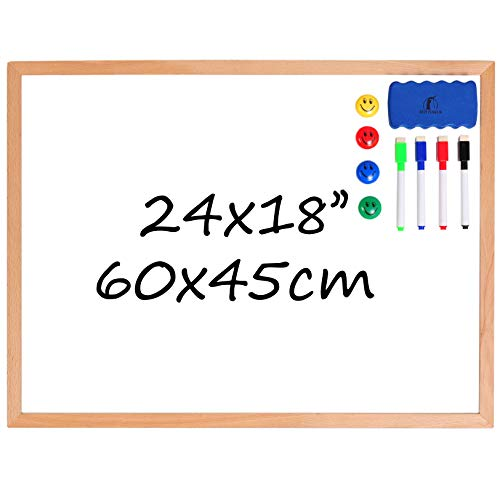 Whiteboard Set - Wooden Frame (Solid Wood) Dry Erase White Board 24 x 18
