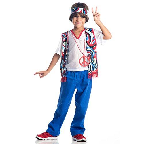 Fantasia Hippie Masculino Infantil Sulamericana Fantasias P 3/4 Anos