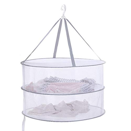 Drying Rack Net 2 Layers Collapsible Mesh Basket Dryer Net White Mesh Clothes Hanging Dryer Rack with Zipper Opening for Lingerie Underwears Woollen Sweater Garments Plush Hanger Rack-Round - Mesh Dryer