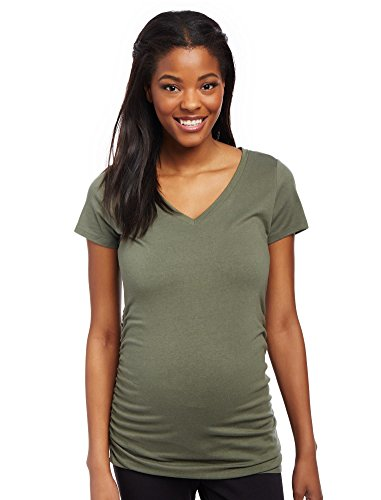 [Motherhood V-neck Side Ruched Maternity Tee] (Motherhood Maternity T-shirt)