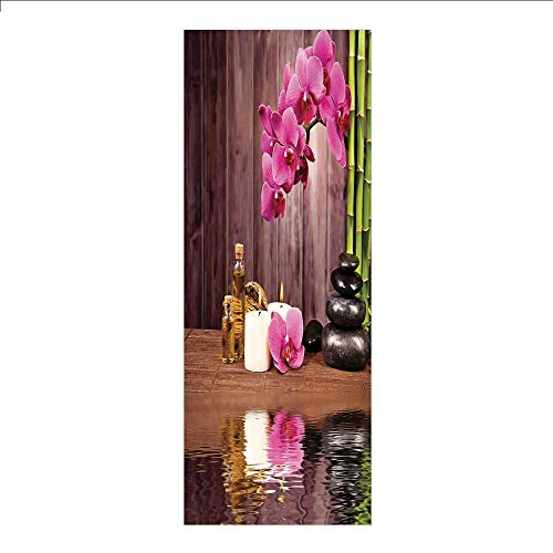 (3D Decorative Film Privacy Window Film No Glue,Spa Decor,Spa Flower Water Reflection Aromatherapy Bamboo Blossom Candlelight,for Home&Office )