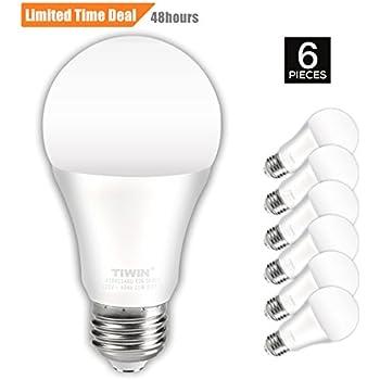 TIWIN A19 E26 LED Light Bulbs 100 watt equivalent (11W), Daylight (5000K),1100lm, CRI80+, General Purpose Light Bulbs, UL Listed, Pack of 6
