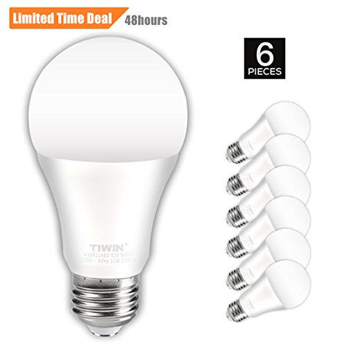 TIWIN A19 E26 LED Light Bulbs 100 watt equivalent (11W), Daylight (5000K),1100lm, CRI80+, General Purpose Light Bulbs, UL Listed, Pack of 6 (Store At Home Retail)