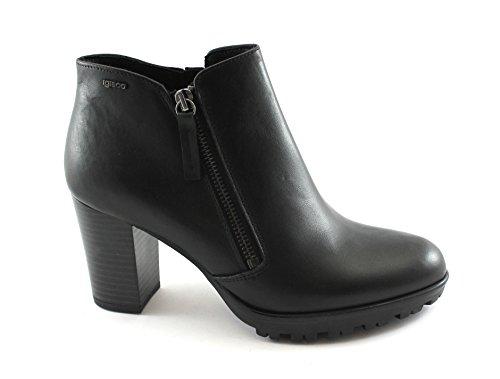 IGI&Co 88660 Schwarze Frauen Schuhe Stiefel Stiefel Seitlicher Reißverschluss Leder Nero