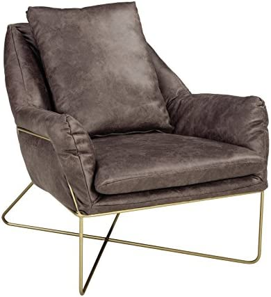 Ashley Furniture Signature Design – Crosshaven Accent Chair – Contemporary – Gray Faux Leather Loose Cushions – Gold Metallic Legs