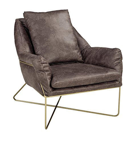 Ashley Furniture Signature Design – Crosshaven Accent Chair – Contemporary – Gray Faux Leather Loose Cushions – Gold Metallic Legs For Sale