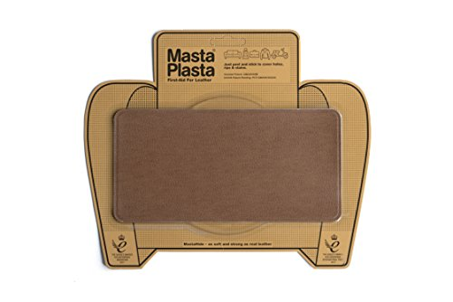 MastaPlasta, Leather Repair Patch, First-aid for Sofas, Car Seats, Handbags, Jackets, etc. Tan Color, Plain 8-inch by 4-inch, Designs Vary