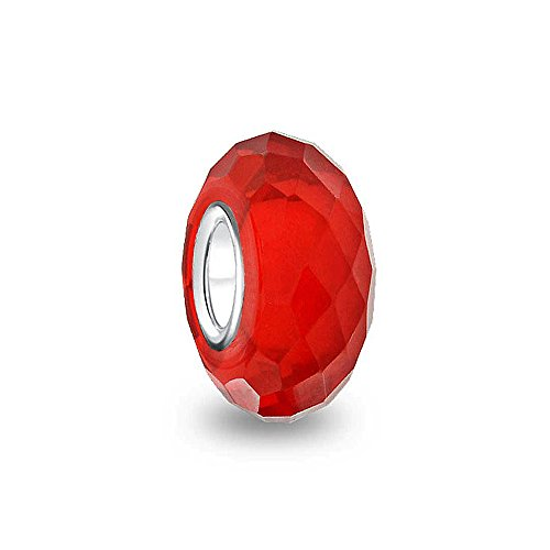 Faceted Translucent Murano Glass Red Charm Bead For Women For Teen Fits European Bracelet 925 Sterling Silver
