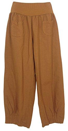 Pantaloni lino Donna, Made in Italy Cognac