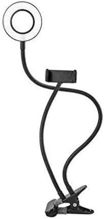 Universal 2-in-1 Cell Phone Lazy Holder with LED selfie Ring Light Live stream for iphone Phone Clip Holder Bracket Desk Lamp