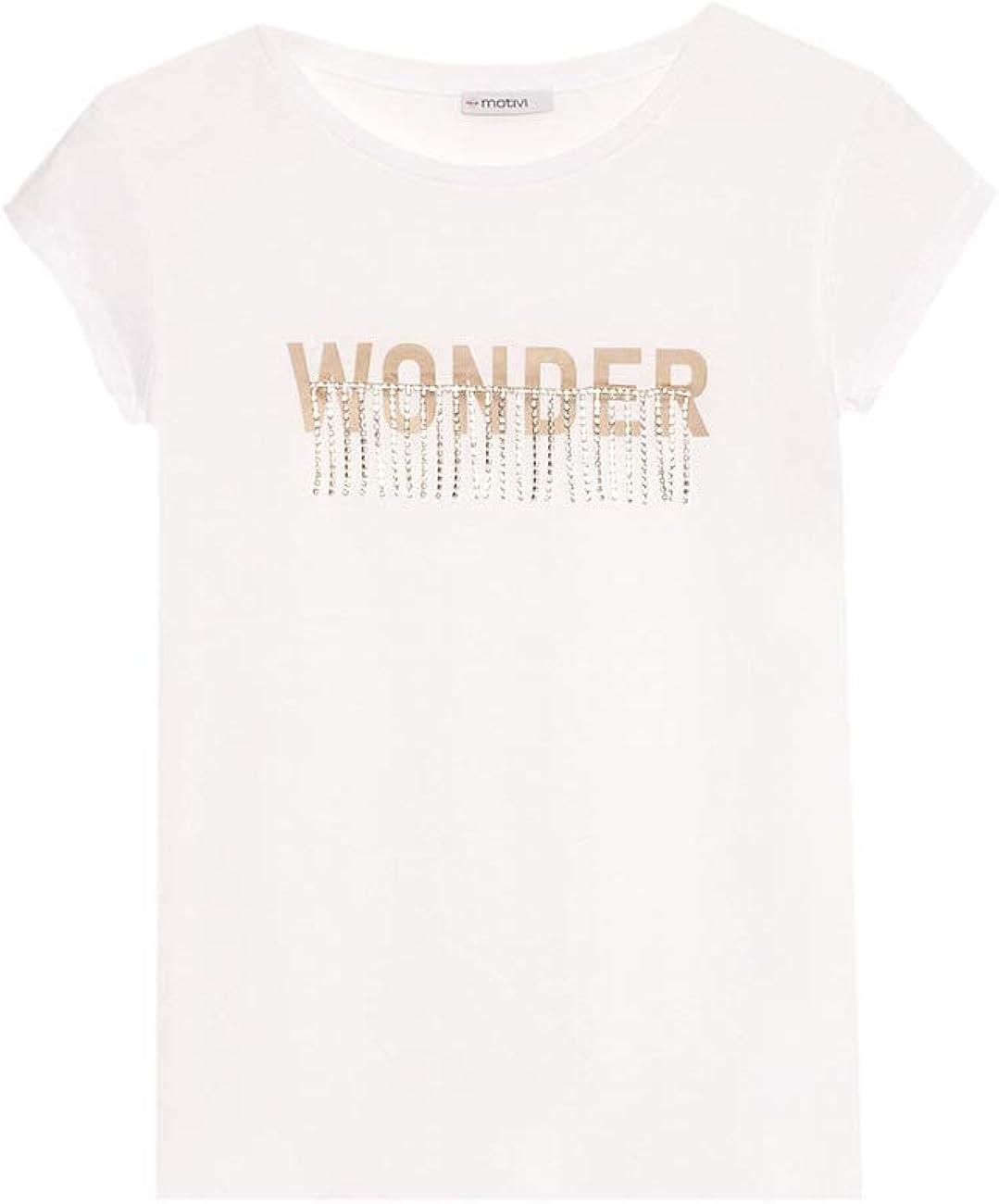 T-Shirt con Stampa Lettering Motivi Italian Size