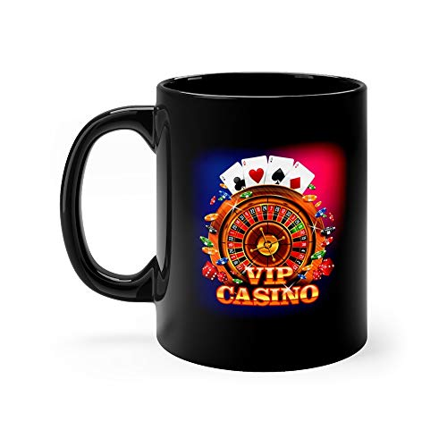 Vip Casino With Roulette Wheel Playing And Falling Chips Poker Suit Funny Mugs Cups Ceramic Cup 11 Oz ()