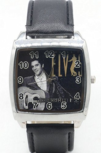 Elvis Presley Quartz Stainless Steel Wrist Watch with Leather Strap.Perfect for a Forever Elvis Fan ()