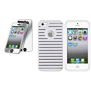 Viesrod CommonByte For iPhone 5 G White Parallax Rubber Hard Skin Case Cover+Mirror LCD Protector