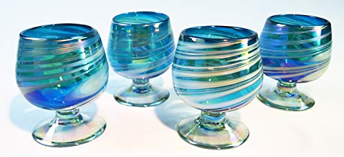 Cognac Glass, hand blown, from Mexico, turquoise and white swirl, Four