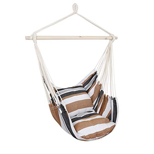 EverKing Hanging Rope Hammock Chair Porch Swing Seat, Large Hammock Net Chair Swing, Cotton Rope Porch Chair for Indoor, Outdoor, Garden, Patio, Porch, Yard – 2 Seat Cushions Included Coffee Stripe