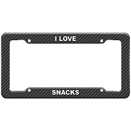 Carbon Fiber Pattern License Plate Frame I Love Places Things S - Snacks (Pattern Snack Plate)
