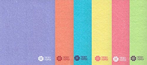Swedish Dishcloths, Reusable Set of 6 Mixed Solid Colors (SIX)