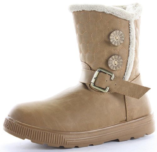 Womens Winter Fur Lined Quilted Low Flat Heel Snow Ankle Boots Size 3-8 Tan Brown