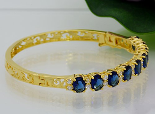 Gorgeous 22k 23k 24k Yellow Gold Plated Women Rare Thai Tennis Cz AAA Syn Blue Sapphire Bracelet 5 Mm 2 Inches
