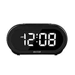 USCCE Small LED Digital Alarm Clock with Snooze, Easy to Set, Full Range Brightness Dimmer, Adjustable Alarm Volume with 5 Alarm Sounds, USB Charger, Compact Clock for Bedrooms, Bedside, Desk
