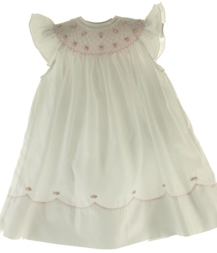 Feltman Brothers Infant Toddler Girls White & Pink Smocked Angel Bishop Dress 6m