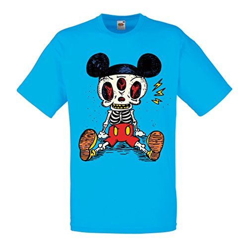 T Shirts for Men Mouse Skeleton Halloween Party Outfits Trick or Treat Death Skull Design (Small Blue Multi Color)