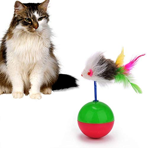 Amazon.com : Best Quality Funny Cats Toy Tumbler Mouse Toy Roly-Poly mice Ball Feather mice Interactive Toy for pet cat Playing Sounding Kitten Toy mpe132 ...
