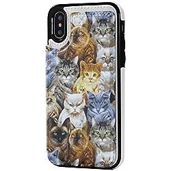 Sew Curious Cats and Sewing Notions - Funda de Piel sintética con Cierre magnético para iPhone X/XS, diseño de Gatos, Color café, Una Talla, Sew Curious Cats and Sewing Notions Logo Bronceado