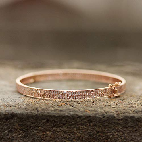 Bangle Diamond Baguette Bracelet (Natural 2.98 Ct. Baguette Diamond Bangle Bracelet Solid 18k Rose Gold Fine Handmade Jewelry NEW ARRIVALS)