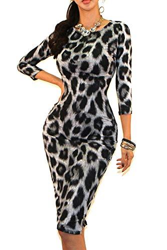 Vivicastle Women's Classic Slim Fit Bodycon Pencil Midi Dress (Medium, AW24, Animal)