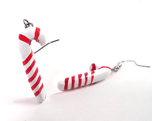 Hand Painted Wooden Candy Cane Earrings for Christmas