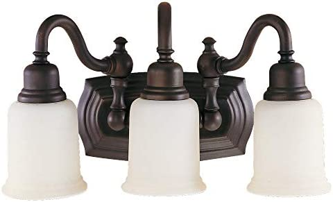 Feiss VS8003-ORB Canterbury Glass Wall Vanity Bath Lighting, Bronze, 3-Light 18.5 W x 9 H 300watts