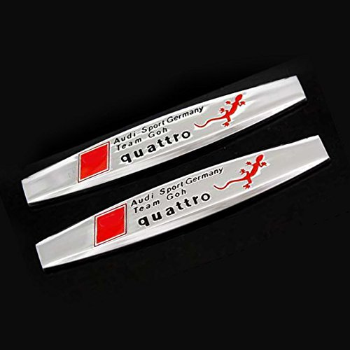 Audi A6 Quattro Fender - 2pcs B304 Car Chromed Emblem Badge Decal Fender Side Sticker Metal Quattro AUDI A4 A5 A6 A7 A8 Q5 Q7 RS