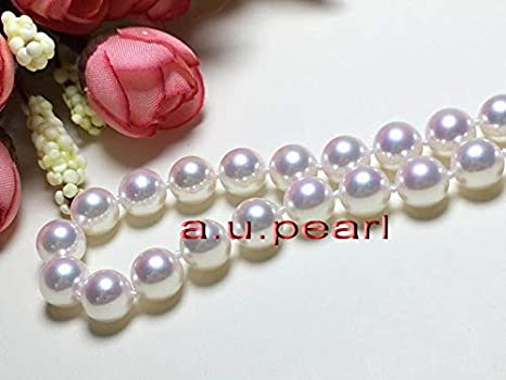 """AAAAA luster natural 18/""""10-11mm round REAL south sea white pearl necklace 14K"""