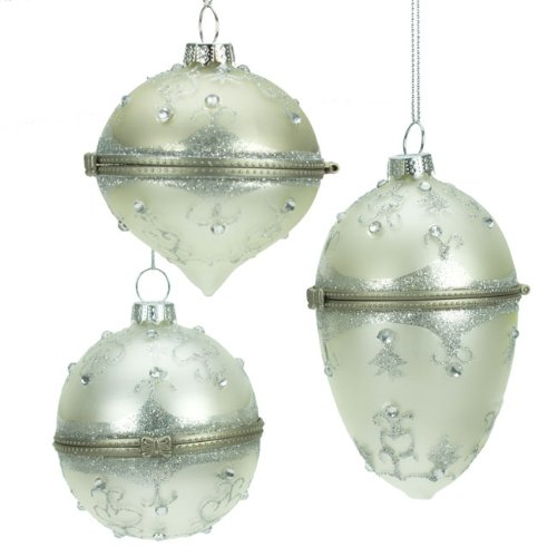 Set of Three Silver Glass Opening Christmas Baubles: Amazon.co.uk ...