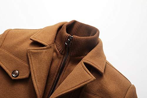 Manteau Chaud Vestes Épais En Kaki Casual Pardessus Laine Business Peluche Susenstone Parka Coat Trench Homme Hiver Élégant FdpFq