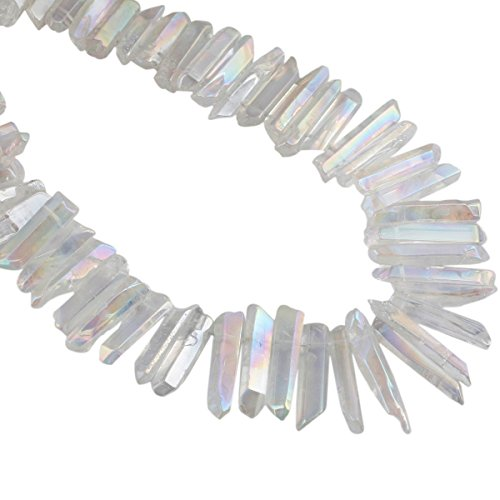 rockcloud Natural Rock Crystal Points Titanium Coated Clear Quartz Sticks Spikes Top Drilled 15 inch Strand,AB Crystal