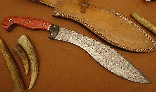 REG-0102, Custom Handmade Damascus Steel 14 Inches Kukri Knife – Solid Colored Pakka Wood Handle