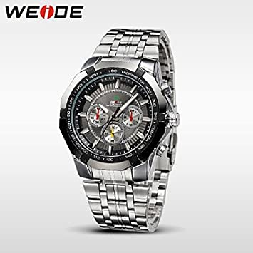 Fashion Watches WEIDE Mens Sports Watch Military Full Steel Quartz Luxury Waterproof Wristwatch (Color :