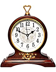 Beesealy Mantel Clock-10 Inch Mantel Clock is Silent and Non-Ticking, Retro Mantel Clock, Used for Living Room/Bedroom/Kitchen Decoration(Brown)