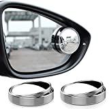 SUMAJU 2 Pcs Blind Spot Mirrors,360°Rotate Round HD Glass Adjustable Automotive Stick-on Convex Side View Spot Mirror for Universal Cars(Silver)