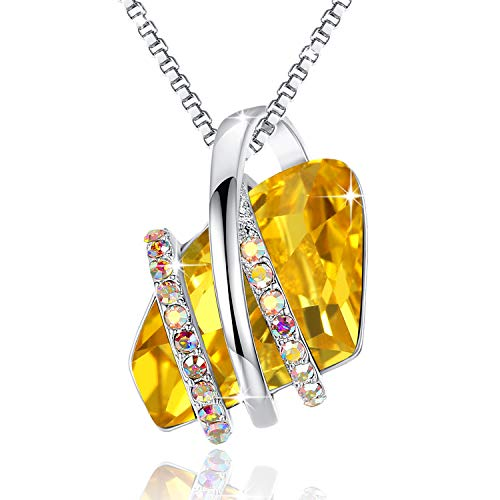(Leafael Wish Stone Pendant Necklace Made with Swarovski Crystals (Citrine Yellow Silver Tone) Gifts for Women November Birthstone Jewelry)