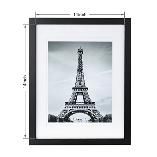 11x14 Picture Frame Black With 3 Mats For 5x7 Or 8x10 Or 8