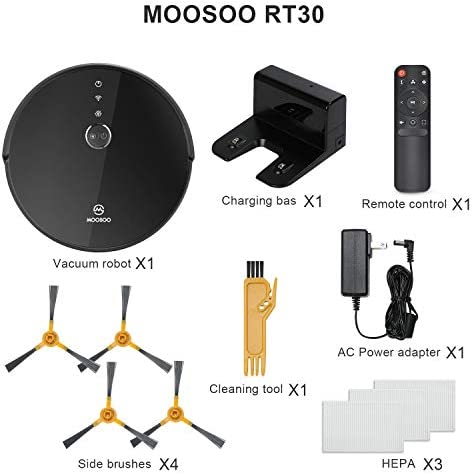MOOSOO Robot Vacuum - Wi-Fi Connected, 2000Pa Suction, Smart Gyroscope Navigation, Works with Alexa & Google Assistant, Quiet, Super-Thin Robotic Vacuum Cleaner, Ideal for Pet Hair,Carpets,Hard Floors