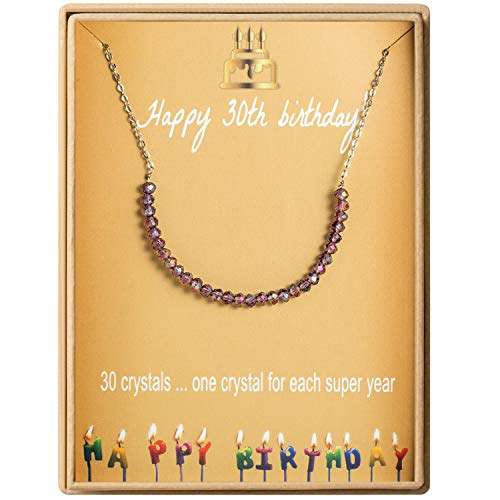 30th Birthday Gifts Necklace for Women S925 Sterling Silver Necklace 30 Crystal Beads for 30 year old Girl Jewelry Gift for Her (Best 30th Birthday Presents)