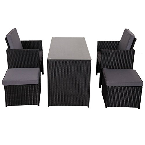 Sundale Outdoor 5-piece Outdoor Cube Rattan Garden Furniture Set Wicker Rattan Dining Set with - Patio Wicker Ottoman