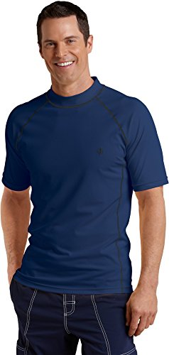 Coolibar UPF 50+ Men's Short-Sleeve Swim Shirt (Large - Navy)